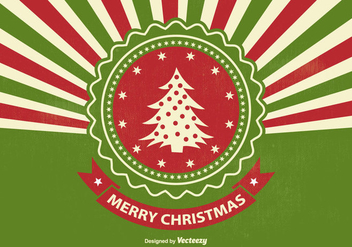 Retro Style Sunburst Christmas Illustration - Free vector #341617