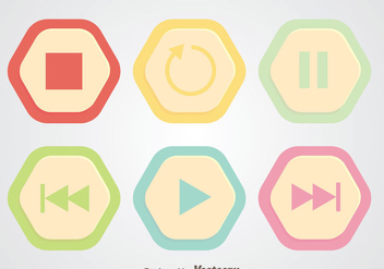 Round Hexagon Media Player Button - vector gratuit #341717