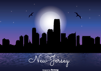 New Jersey Night Skyline Illustration - бесплатный vector #341777