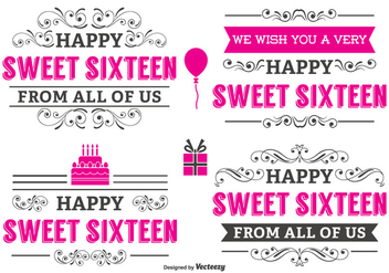 Typographic Sweet 16 Label Set - vector gratuit #341937