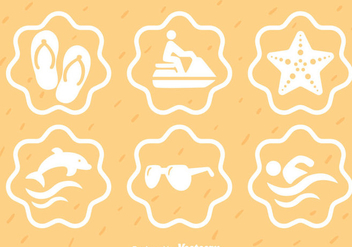 Beach Element White Icons - Free vector #341947