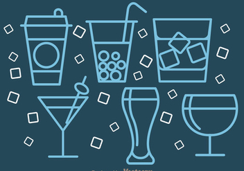 Drinks Outline Icons - vector gratuit #341967