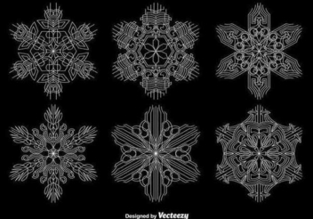 Ornamental White Snowflake Set - Free vector #342017