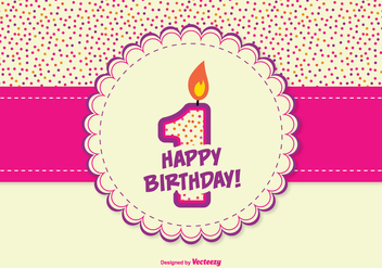 Cute 1st Year Burthday Illustration - vector #342277 gratis