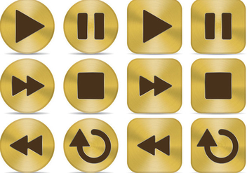 Gold Media Buttons - vector gratuit #342347