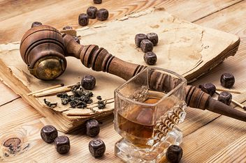 Still life with smoking pipe, chocolate and glass of brandy - Free image #342487