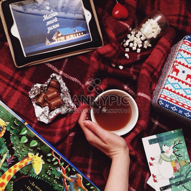 warm evening with cocoa, chocolate, marshmallow - Free image #342547
