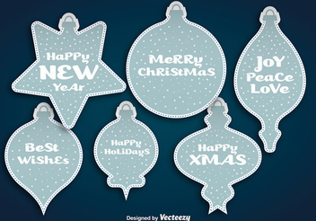 Blue Christmas Ball Sticker Set - vector gratuit #342797