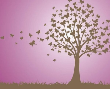 Butterfly Tree Landscape - бесплатный vector #342837