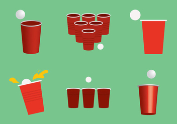 Free Beer Pong Vector Illustration - Free vector #342987