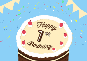 1st Birthday Vector - Free vector #343027