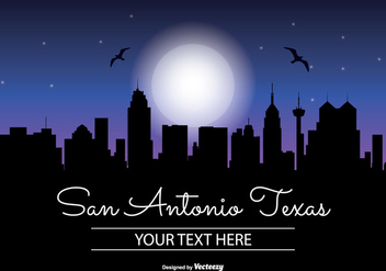 San Antonio Texas Night Skyline Illustration - vector gratuit #343097