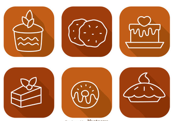 Cake Long Shadow Icons - vector gratuit #343107