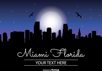 Miami Night Skyline Illustration - бесплатный vector #343347
