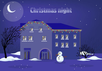 Free Christmas Night Vector Illustration - Kostenloses vector #343397
