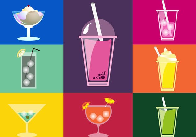 Drinks Illustrations Flat Icons - Free vector #343447