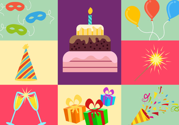 Party Elements Illustration Icons Vector - Free vector #343457