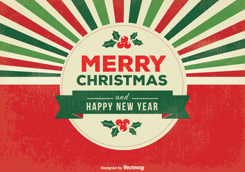 Retro Merry Christmas Illustration - vector gratuit #343677