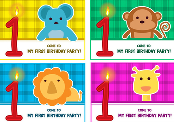 1st birthday Vectors - vector #343697 gratis