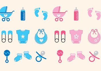 Baby Shower Icons Girl and Boy - vector gratuit #343777