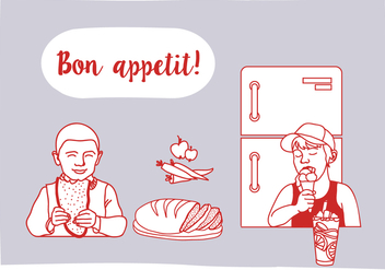 Free Bon Appetit Vector Illustration with Characters - Kostenloses vector #343797