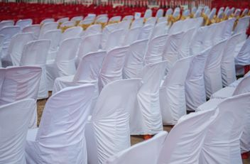 Wedding chairs in white fabric - image #344527 gratis