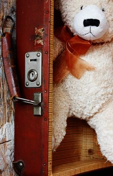 White teddy bear in retro suitcase - image gratuit #344587