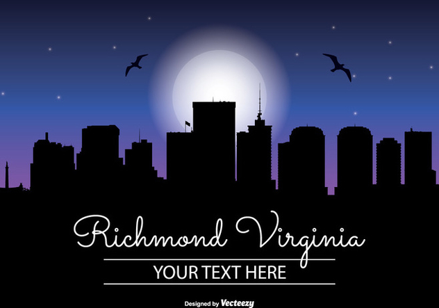 Richmond Virginia Night Skyline - Free vector #344897