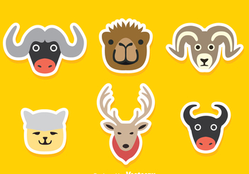 Cartoon Animal Stickers - Free vector #344927