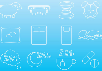 Mattress And Sleep Icons - Free vector #345147