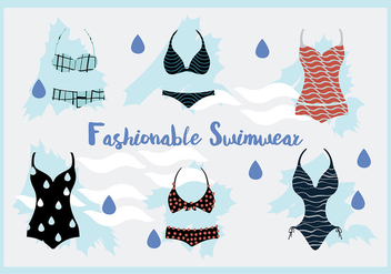 Free Woman Swimwear and Swim Suits Vector Background - бесплатный vector #345237