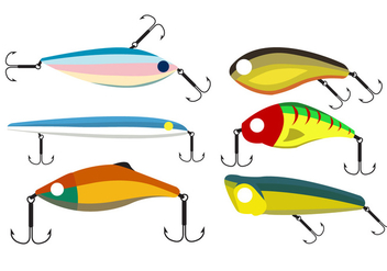 Vector Set of Fishing Lures - vector gratuit #345407