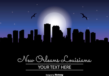New Orleans Night Skyline - бесплатный vector #345417