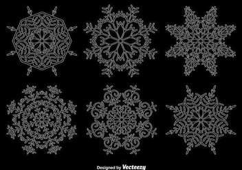 White outline snowflakes - vector gratuit #345557