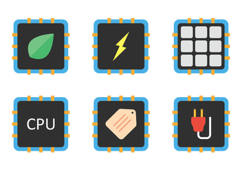 CPU Icon Set - vector gratuit #345587