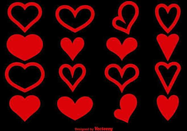 Red heart shapes - vector gratuit #345597