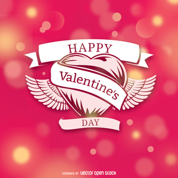 Valentine's heart over bokeh background - vector gratuit #345807