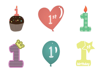 Free 1st birthday vector Illustration - Free vector #345957