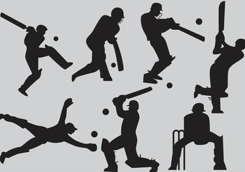 Cricket Player Silhouette Vectors - Free vector #345977