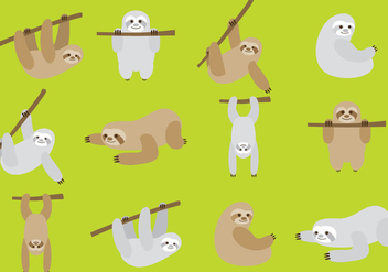 Cartoon Sloths - vector gratuit #346017