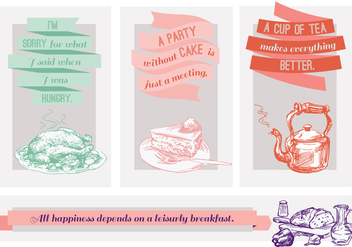 Free Quotes About Food Vector Illustration with Hand Drawn Elements - Free vector #346047