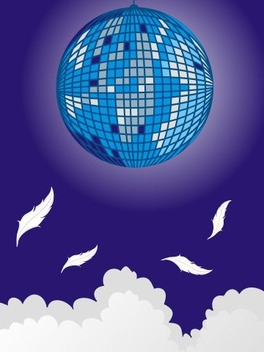 Pixilated Disco Sphere Blue Background - vector gratuit #346487
