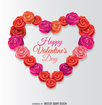 Happy Valentine's heart made of roses - vector gratuit #346517