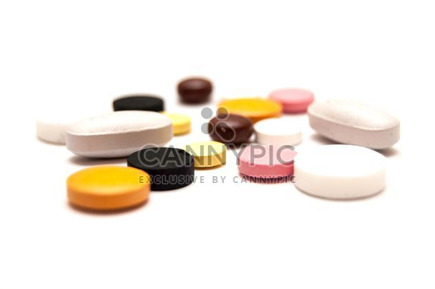 Colorful pills on white background - Free image #346617