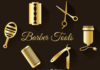 Golden Barber Tools Set - vector #346657 gratis