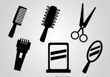 Barber Tools Black Vector Icons - Free vector #346757