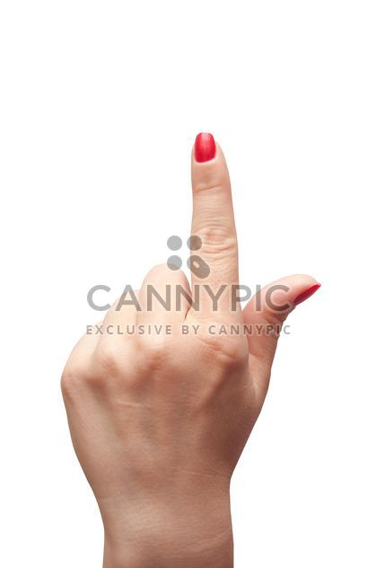 Female hand showing forefinger on white background - Free image #346937