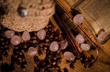 Old books, runes and coffee beans - image #346967 gratis