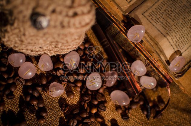 Old books, runes and coffee beans - image gratuit #346967