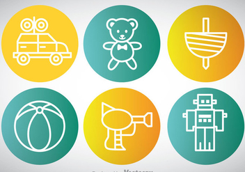 Toys Circle Icons - vector #347047 gratis